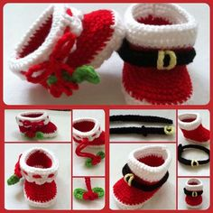 I love to crochet. I love to search out pictures of crochet as inspiration for future projects. I'm always looking for pictures of beautiful things done in crochet. Holiday Crochet, Christmas Knitting, Crochet Amigurumi, Knit Crochet, Crochet Santa, Crochet Crafts, Crochet Projects, Crochet Baby Booties, Baby Kind