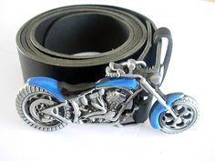 3d Motorbike Belt and Buckle - Engine Harley Bikers Leather Belts and Buckles