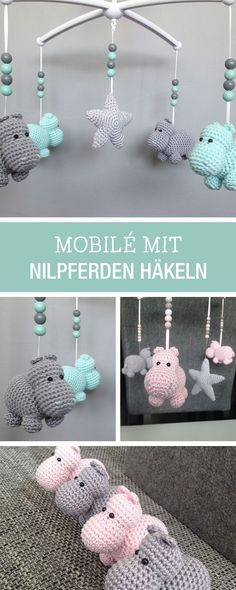 DIY-Anleitung: Fliegende Nilpferde als Mobile häkeln, Kinderzimmerdeko / DIY tutorial: crocheting flying hippos as mobile for your baby to fall asleep via http://DaWanda.com