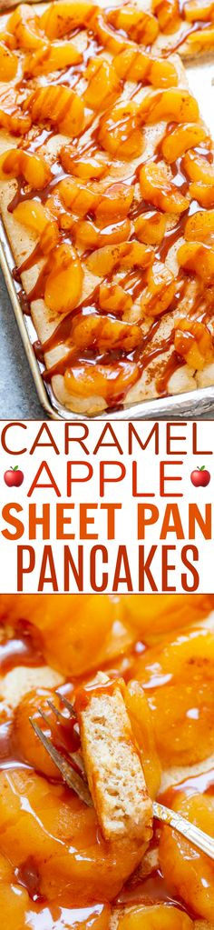 Caramel Apple Sheet Pan Pancakes – Craving pancakes but not the work of standing at the stove flipping them? Make these EASY sheet pan pancakes! Perfect for a weekend brunch or as a weekday breakfast because they're ready in 10 minutes! Köstliche Desserts, Sweet Desserts, Dessert Recipes, Apple Recipes, Holiday Recipes, Brunch Recipes, Breakfast Recipes, Sheet Cake Recipes, Quick And Easy Breakfast