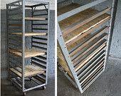 metal and wood vintage baker's rack // shelving unit