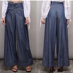 Nordstrom Jeans | Culottes With Lace Up Dobe Jeans | Poshmark Wide Leg Denim, Wide Leg Pants, Nordstrom Jeans, Flare Jeans, Corset, Harem Pants, Polka Dots, Lace Up, Legs