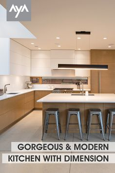 In AyA's Kensington Latte and Cirrus Rye White Oak, this stunning open concept kitchen space has balance, flow and dimension. Visit ayakitchens.com to see more of this stunning kitchen space along with many others. Urban Kitchen, Kitchen And Bath, New Kitchen, Kitchen Gallery, Open Concept Kitchen, Kitchen Cabinetry, Rye, White Oak, Latte
