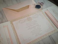 Beautiful, romantic, wedding Invitation -  wax sealed!