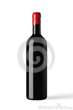 Bottle of red wine isolated with wax capsule, white background