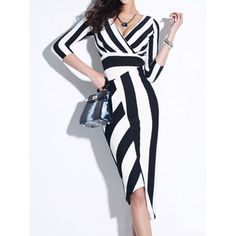 WithChic Monochrome Stripe 3/4 Sleeve V Neck Asymmetric Bodycon Dress (£34) ❤ liked on Polyvore featuring dresses, stripe dresses, 3/4 sleeve bodycon dress, asymmetrical dress, stripe bodycon dress and asymmetrical striped dress
