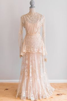 SALE EXQUISITE Cream Antique Victorian Sheer Irish Lace Wedding Dress with Pink Satin Slip Size Small WAS: $559  NOW: $470 via #EmmelineChic on etsy