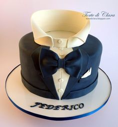 Ideas Cake Decorating For Men Beautiful Elegant Birthday Cakes, Birthday Cakes For Men, Man Birthday, Fondant Cakes, Cupcake Cakes, James Bond Cake, Tuxedo Cake, Cake For Husband, Shirt Cake