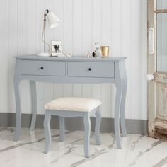 The elegant Camille Desk and Stool set works as a charming dressing table for your bedroom. All our Camille Pieces are crafted from solid pine and combine a minimal aesthetic with soft, curving legs. Traditional Dressing Tables, Dressing Table Modern, Furniture Dressing Table, Dressing Table With Stool, Grey Furniture, Contemporary Furniture, Furniture Making, Bedroom Furniture, Home Furniture
