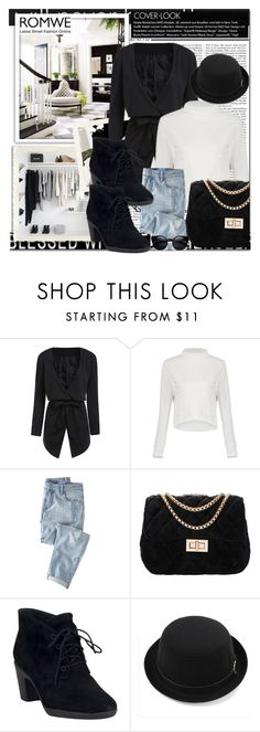 """""""Romwe 8"""" by emina-turic ❤ liked on Polyvore featuring Nicki Minaj, Wrap, Clarks, women's clothing, women's fashion, women, female, woman, misses and juniors"""