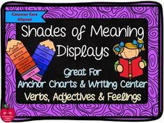 Shades of Meaning Displays for Reading & Writing 2nd Grade Ela, Third Grade Reading, Second Grade, Shades Of Meaning, Writing Anchor Charts, Learning Support, Literacy Stations, Writer Workshop, Reading Comprehension