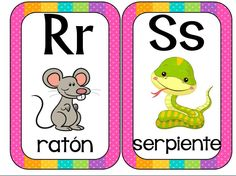 Abecedario animales formato tarjetas imprimibles - Imagenes Educativas Spanish Alphabet, Alphabet Wall, Craft Activities, Toddler Activities, Alphabet For Toddlers, Alfabeto Animal, Spanish Lessons For Kids, Preschool Writing, School Worksheets