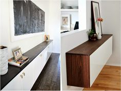 A look at different style of floating credenzas - what kind of Ikea cabinets work best for a floating credenza?