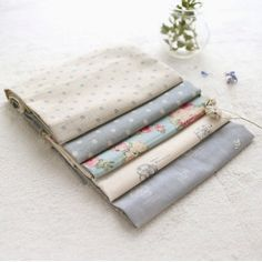 Fat Quarters Fade Sky Package of 5 Linen Fabrics by sewingroomdoor