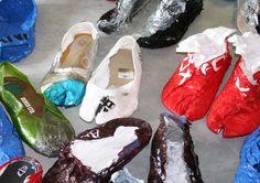 plastic bags become reusable shoes - designboom | architecture & design magazine