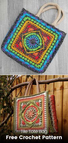 Tile Tote Bag Free Crochet Pattern #crochet #crafts #homedecor #handmade #homemade