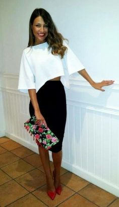 Black pencil skirt with white crop top