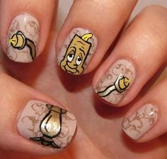 "Disney's The Beauty and the Beast ""Lumiere"" nails"