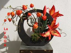 chinese lantern flower arrangement | Silk Floral Arrangement Lillies Chinese Lantern Ikebana a CC Design