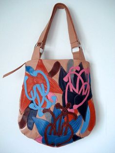 ef18e5ef61f2 Bucket Bag in Peach leather with Appliqued Lilies
