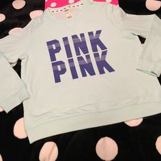 VS PINK Mint Sweatshirt NWT Large VS PINK Mint Sweatshirt.  New with tags. Size large.  See pictures as you will receive as pictured. No  trades. No holds. All offers or (lowest ?'s) please use make offer button only please (reasonable offers).  Thanks for looking & Happy Poshing PINK Victoria's Secret Sweaters
