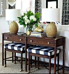 Inspiration from one of our stylish clients for a bamboo vintage dresser in stock at the CEH, it's begging for pretty stain and polished brass! We love the stained wood on the Console in this photo- @jenniferdimplesandtangles