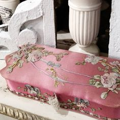 Lovely vintage french glove box. Delicately wrapped in silk fabric, and topped with silk ribbon roses. A lovely gift from my friend Aaron…