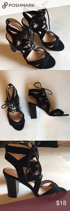 Black Lace-Up Heels Worn twice, some wear on the bottom but great condition! Black round-toe lace-up sandals 3.5 inch heel  Microfiber fabric  Perfect for a girls night out! XOXO Shoes Sandals