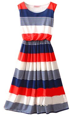Red+Round+Neck+Sleeveless+Striped+Mid+Waist+Dress+US$30.88