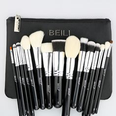 BEILI 15 pieces Black Premium Goat hair Big Powder Foundation blusher eye shadow Contour Makeup brush set Cosmetic Pouch