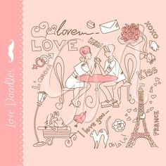 Valentines doodles clip art, Heart Doodles, Love, wedding, flowers, kisses, Paris, Digital clipart elements for Personal and Commercial use