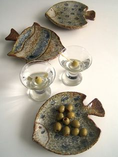 Set of 3 Fish Shaped Art Pottery Serving Plates