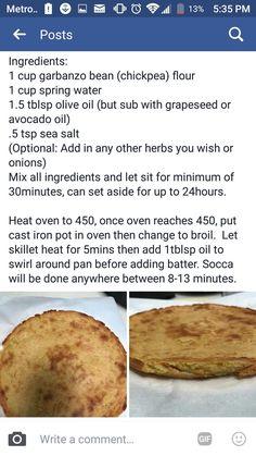 Alkaline Vegan Socca recipe with Dr Sebi approved ingredients Can be used as flatbread or pizza crust. Vegan Foods, Vegan Snacks, Vegan Dishes, Vegan Keto, Diet Foods, Vegan Meals, Vegan Desserts, Vegan Recipes Easy, Vegetarian Recipes