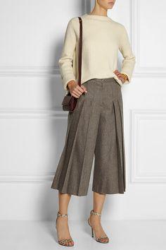 Dark-mushroom stretch-wool Button and concealed zip fastenings at front 98% virgin wool, 2% spandex; lining: 100% cotton Dry clean Chestnut Melange