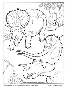 Triceratops coloring pages, dinosaur colouring pages. these are great.