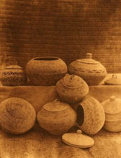 Edward S. Curtis's The North American Indian - volume 20 facing: page 78 Baskets, Nunivak Native American Baskets, Native American Tribes, American Indians, Native Americans, Bountiful Baskets, Pine Needle Baskets, Arts And Crafts, Diy Crafts, Pine Needles