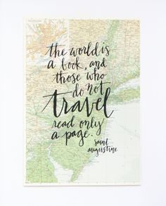 Travel Quote Screen Print on Vintage Atlas Page by MintAfternoon, $25.00
