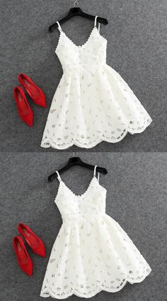 A-Line V-Neck Sleeveless Backless Short White Lace Homecoming Dress
