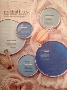 Цвета морского синего: широкие мазки шторма, приморский блюз, свежий бриз, смелый голубой, средиземноморский отдых. Better Homes and Gardens  Nautical Blues: broad strokes stormy,  seaside,  breezy, daring, vacation