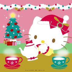 Hello Kitty Christmas Tree, Cat Christmas Cards, Christmas Cartoons, Christmas Tree With Gifts, Pink Christmas, Beautiful Christmas, Hello Kitty Backgrounds, Hello Kitty Wallpaper, Kawaii Wallpaper