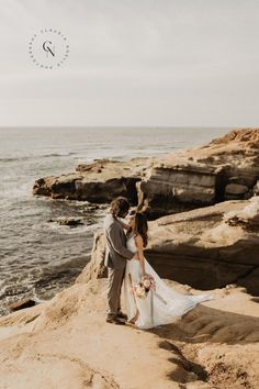 Sunset Cliffs is one of the most popular elopement spots in San Diego. Once you see the area in person, it's so easy to see why! The breeze is mild, the sunset views are to die for, and the color of the ocean on a sunny day is indescribable. There are several spots to wander at Sunset Cliffs, and we went to nearly all of them to catch the sun as it went down! The beautiful arch formations made the perfect backdrop.