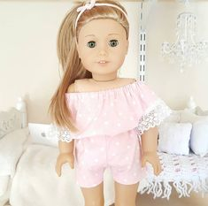 18 inch doll pink romper by SewCuteForever on Etsy