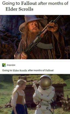 18 Skyrim Memes Funny Elder Scrolls - Next Memes Gamer Humor, Funny Gaming Memes, Stupid Funny Memes, Hilarious, Funny Laugh, Video Game Logic, Video Games Funny, Funny Games, Fallout Meme