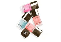 Chanel nail polishes Watercolor MakeUp illustration by MilkFoam, $30.00