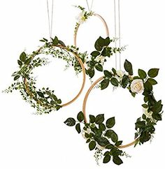 Amazon.com: Ling's moment Spring Summer Greenery Wedding Handcrafted Vine Wreaths Set of 3, Wedding Decor Rustic Wedding Backdrop, Artificial Roses Plant Flower Garland, Woodland Wedding decoration Floral Hoop: Home & Kitchen