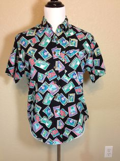 Black United States Postal Stamp Blouse by Chaus Petites by Oldtonewjewels on Etsy