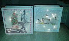 """Glasblok """"kerst"""" met verlichting"""