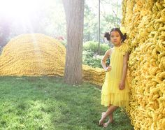 Bonnie Young kids fashion shot at the Orly Genger installation in Madison Square Park