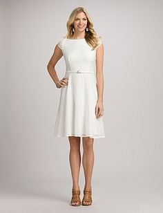 Belted Eyelet Dress | Dressbarn