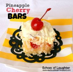 Pineapple Cherry Bars- this sounds really good right now